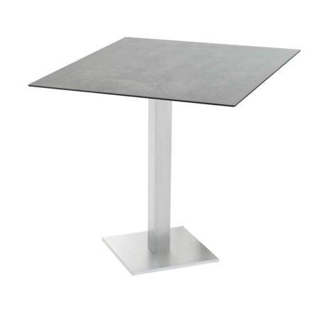 "Diamond Garden ""Viana"" Tischgestell eckig, Aluminium gebürstet, DiGa Compact (HPL) Tischplatte, Beton dunkel"