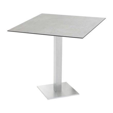 "Diamond Garden ""Viana"" Tischgestell eckig, Aluminium gebürstet, DiGa Compact (HPL) Tischplatte, Beton hell"