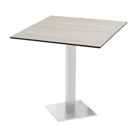 "Diamond Garden ""Viana"" Tischgestell eckig, Aluminium gebürstet, DiGa Compact (HPL) Tischplatte, Eiche sägerau"