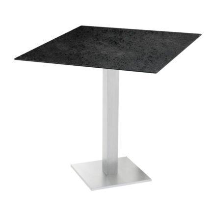 "Diamond Garden ""Viana"" Tischgestell eckig, Aluminium gebürstet, DiGa Compact (HPL) Tischplatte, Schiefer"