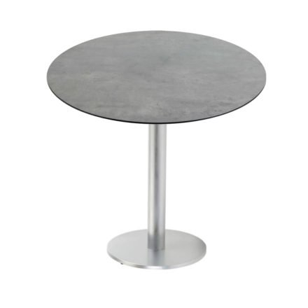 "Diamond Garden ""Viana"" Tischgestell rund, Aluminium gebürstet, DiGa Compact (HPL) Tischplatte, Beton dunkel"