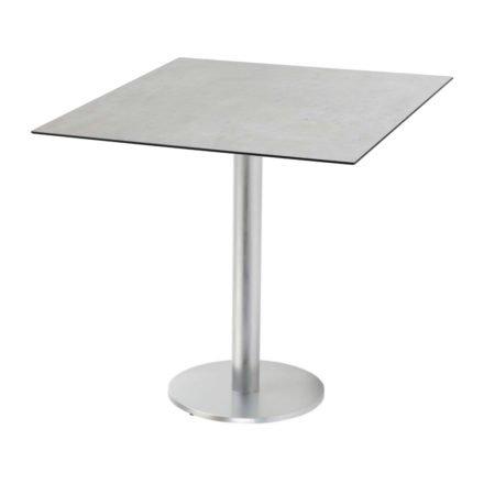 "Diamond Garden ""Viana"" Tischgestell rund, Aluminium gebürstet, DiGa Compact (HPL) Tischplatte, Beton hell"