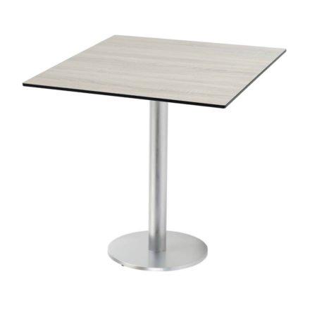 "Diamond Garden ""Viana"" Tischgestell rund, Aluminium gebürstet, DiGa Compact (HPL) Tischplatte, Eiche sägerau"