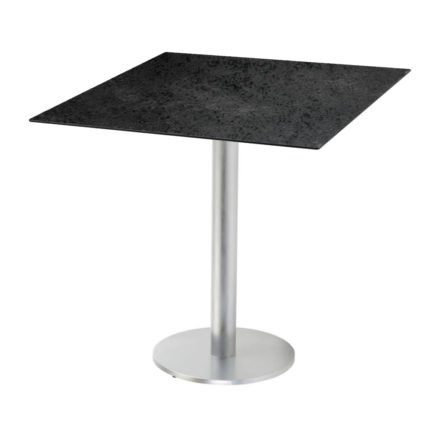 "Diamond Garden ""Viana"" Tischgestell rund, Aluminium gebürstet, DiGa Compact (HPL) Tischplatte, Schiefer"