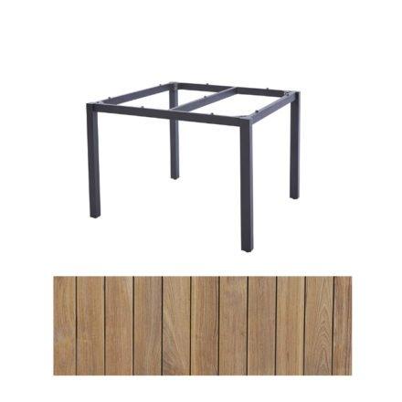 "Diamond Garden Tisch ""San Marino"", Gestell Edelstahl dunkelgrau, Platte Recycled Teak Natur, 100x100 cm"