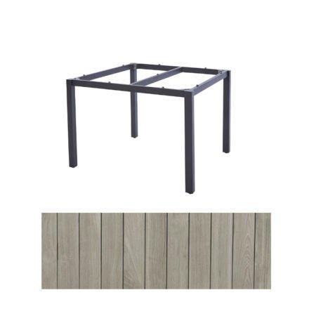 "Diamond Garden Tisch ""San Marino"", Gestell Edelstahl dunkelgrau, Platte Recycled Teak Seawash, 100x100 cm"