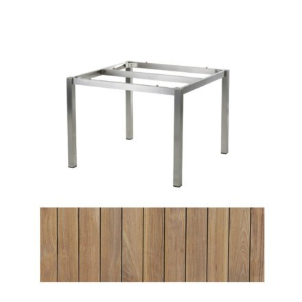 """Diamond Garden Tisch """"San Marino"""", Gestell Edelstahl, Tischplatte Recycled Teak Natur, 100x100 cm"""