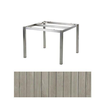"""Diamond Garden Tisch """"San Marino"""", Gestell Edelstahl, Tischplatte Recycled Teak Seawash, 110x100 cm"""