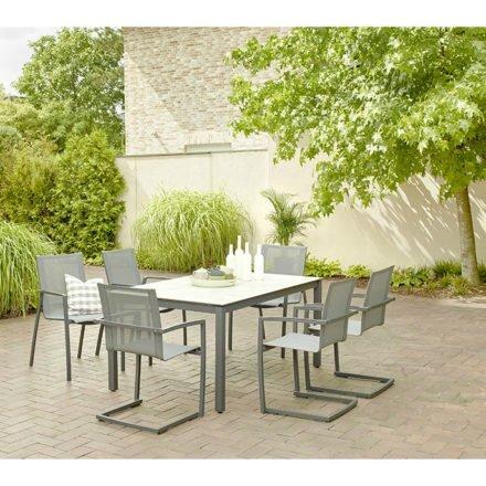 "Diamond Garden Gartentisch ""San Marino"", Edelstahl dunkelgrau, Platte DiGa Compact HPL Granit hell, 160x100 cm, Swingstuhl/Freischwinger u. Stapelstuhl ""Valencia"" schwarz-silber"