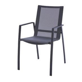 "Diamond Garden ""Valencia"", Gartenstuhl, Gestell Edelstahl dunkelgrau, Sitzfläche Textilgewebe schwarz-silber, Armlehnen Aluminium"
