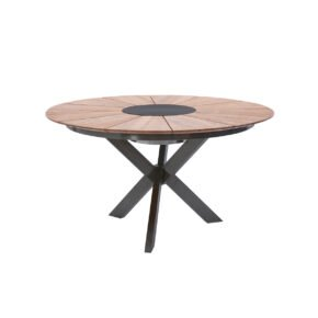 "Diamond Garden Gartentisch ""Lyon"", Gestell Edelstahl dunkelgrau, Tischplatte Teakholz recycelt mit Fase"