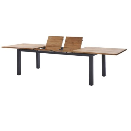 """Diamond Garden """"Porto"""" Ausziehtisch, Gestell Edelstahl dunkelgrau, Tischplatte mit 3 Planken Teakholz recycelt"""