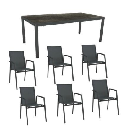 """Stern Gartenmöbel-Set mit Stuhl """"New Top"""" und Gartentisch Aluminium/HPL, Gestelle Aluminium anthrazit, Sitz Textil karbon, Tischplatte HPL Dark Marble"""