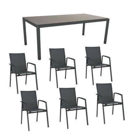 """Stern Gartenmöbel-Set mit Stuhl """"New Top"""" und Gartentisch Aluminium/HPL, Gestelle Aluminium anthrazit, Sitz Textil karbon, Tischplatte HPL Uni Grau"""