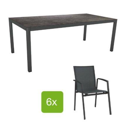 """Stern Gartenmöbel-Set mit Stuhl """"New Top"""" und Gartentisch Aluminium/HPL, Gestelle Aluminium anthrazit, Sitz Textil karbon, Tischplatte HPL Vintage Grau"""