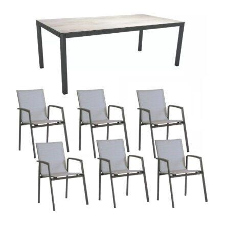 "Stern Gartenmöbel-Set mit Stuhl ""New Top"" und Gartentisch Aluminium/HPL, Gestelle Aluminium anthrazit, Sitz Textil silber, Tischplatte HPL Zement hell"