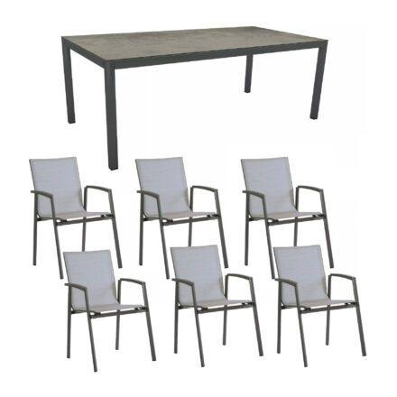"""Stern Gartenmöbel-Set mit Stuhl """"New Top"""" und Gartentisch Aluminium/HPL, Gestelle Aluminium anthrazit, Sitz Textil silber, Tischplatte HPL Zement"""