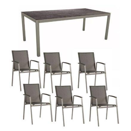 """Stern Gartenmöbel-Set mit Stuhl """"New Top"""" und Gartentisch Aluminium/HPL, Gestelle Aluminium graphit, Sitz Textil silbergrau, Tischplatte HPL Vintage grau"""