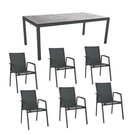 """Stern Gartenmöbel-Set """"New Top"""", Gestelle Aluminium anthrazit, Tischplatte Metallic grau, Sitz- und Rückenfläche Textilgewebe karbon"""