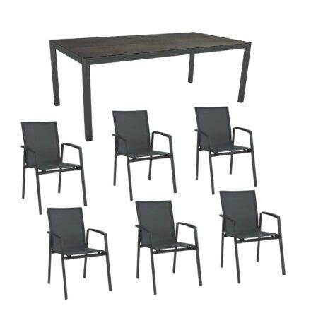 """Stern Gartenmöbel-Set """"New Top"""", Gestelle Aluminium anthrazit, Tischplatte Nitro, Sitz- und Rückenfläche Textilgewebe karbon"""