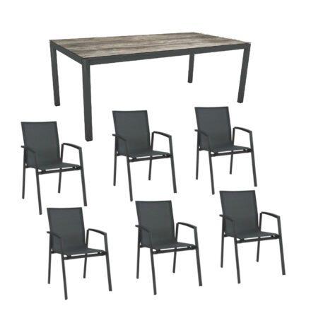 """Stern Gartenmöbel-Set """"New Top"""", Gestelle Aluminium anthrazit, Tischplatte Tundra Grau, Sitz- und Rückenfläche Textilgewebe karbon"""