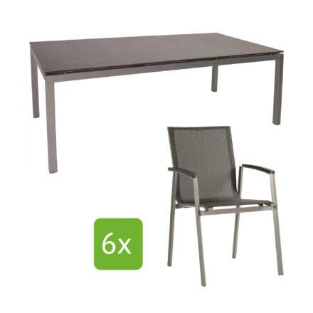 """Stern Gartenmöbel-Set """"New Top"""", Gestelle Aluminium graphit, Tischplatte Metallic grau, Sitz- und Rückenfläche Textilgewebe silbergrau"""