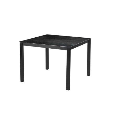 """Diamond Garden Tisch """"San Marino"""", Gestell Edelstahl dunkelgrau, Platte DiGa Compact HPL Schiefer, 100x100 cm"""