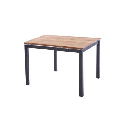 "Diamond Garden Tisch ""San Marino"", Gestell Edelstahl dunkelgrau, Platte 3 Planken Recycled Teak Natur, 100x100 cm"