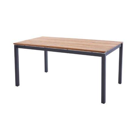 "Diamond Garden Tisch ""San Marino"", Gestell Edelstahl dunkelgrau, Platte 3 Planken Recycled Teak Natur, 160x100 cm"