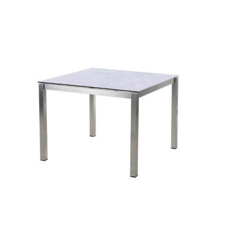 "Diamond Garden Tisch ""San Marino"", Gestell Edelstahl, Platte DiGa Compact HPL Granit hell, 100x100 cm"