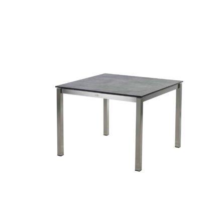 """Diamond Garden Tisch """"San Marino"""", Gestell Edelstahl, Platte DiGa Compact HPL Schalbrett Beton, 100x100 cm"""