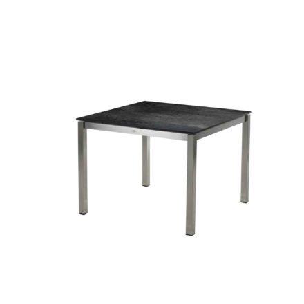 """Diamond Garden Tisch """"San Marino"""", Gestell Edelstahl, Platte DiGa Compact HPL Schiefer, 100x100 cm"""