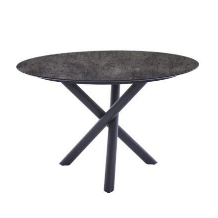 "Diamond Garden Tisch ""San Marino"" rund, Gestell Edelstahl dunkelgrau, Platte DiGa Compact HPL Beton dunkel, Ø 120 cm"
