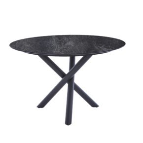 "Diamond Garden Tisch ""San Marino"" rund, Gestell Edelstahl dunkelgrau, Platte DiGa Compact HPL Granit dunkel, Ø 120 cm"