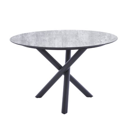 "Diamond Garden Tisch ""San Marino"" rund, Gestell Edelstahl dunkelgrau, Platte DiGa Compact HPL Granit hell, Ø 120 cm"