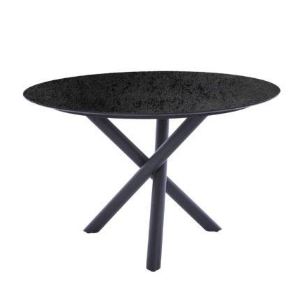 "Diamond Garden Tisch ""San Marino"" rund, Gestell Edelstahl dunkelgrau, Platte DiGa Compact HPL Schiefer, Ø 120 cm"