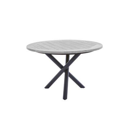 """Diamond Garden Tisch """"San Marino"""" rund, Gestell Edelstahl dunkelgrau, Platte Recycled Teak Seawash, Ø 120 cm"""