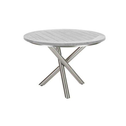 """Diamond Garden Tisch """"San Marino"""" rund, Gestell Edelstahl, Platte Recycled Teak Seawash, Ø 120 cm"""