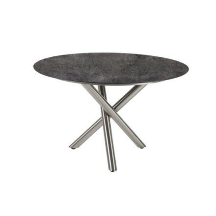 "Diamond Garden Tisch ""San Marino"" rund, Gestell Edelstahl, Platte DiGa Compact HPL Beton dunkel, Ø 120 cm"