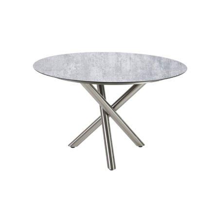 "Diamond Garden Tisch ""San Marino"" rund, Gestell Edelstahl, Platte DiGa Compact HPL Granit hell, Ø 120 cm"