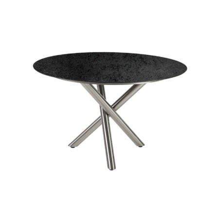 "Diamond Garden Tisch ""San Marino"" rund, Gestell Edelstahl, Platte DiGa Compact HPL Schiefer, Ø 120 cm"