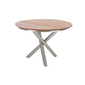 """Diamond Garden Tisch """"San Marino"""" rund, Gestell Edelstahl, Platte 3 Planken Recycled Teak Natur, Ø 120 cm"""