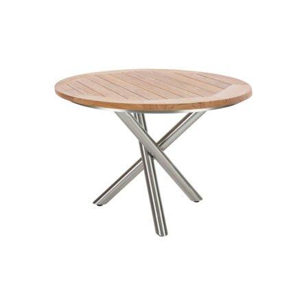 """Diamond Garden Tisch """"San Marino"""" rund, Gestell Edelstahl, Platte Recycled Teak Natur, Ø 120 cm"""