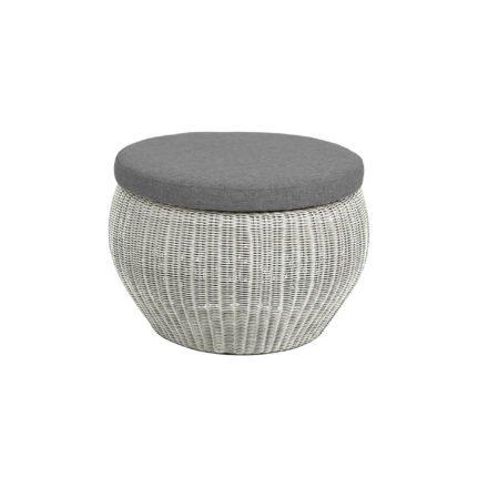 Stern Beistelltisch/Hocker Anny, Gestell Aluminium, Geflecht Vintage weiß