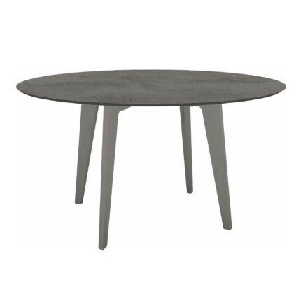Stern Gartentisch Ø 134 cm, Alu graphit, Tischplatte HPL Zement