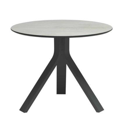 """Stern Beistelltisch """"Freddie"""", Gestell Aluminium anthrazit, Tischplatte HPL Zement hell, Ø 60 cm, Höhe 48 cm"""