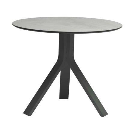 """Stern Beistelltisch """"Freddie"""", Gestell Aluminium anthrazit, Tischplatte HPL Zement hell, Ø 65 cm, Höhe 53 cm"""