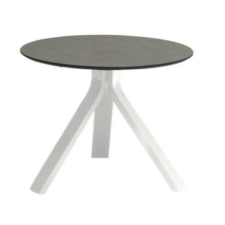 """Stern Beistelltisch """"Freddie"""", Gestell Aluminium weiß, Tischplatte HPL smoky, Ø 55 cm, Höhe 43 cm"""