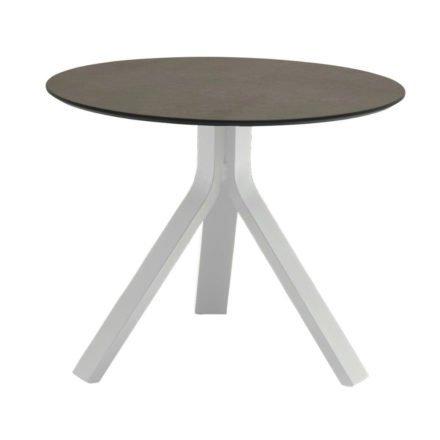 """Stern Beistelltisch """"Freddie"""", Gestell Aluminium weiß, Tischplatte HPL smoky, Ø 60 cm, Höhe 48 cm"""