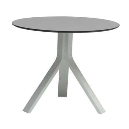 """Stern Beistelltisch """"Freddie"""", Gestell Aluminium weiß, Tischplatte HPL uni grau, Ø 65 cm, Höhe 53 cm"""